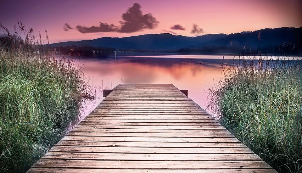 coucher de soleil sur l'étang